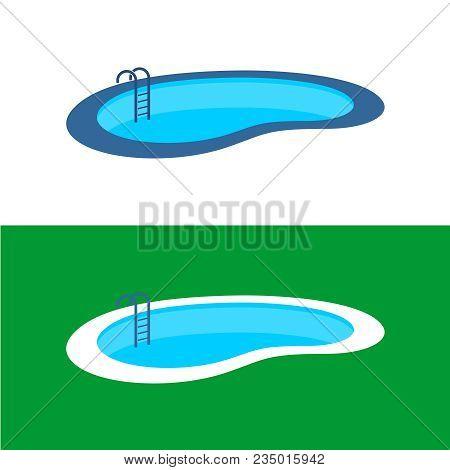Swimming Pool Logo. Perspective Water Pool Illustration.