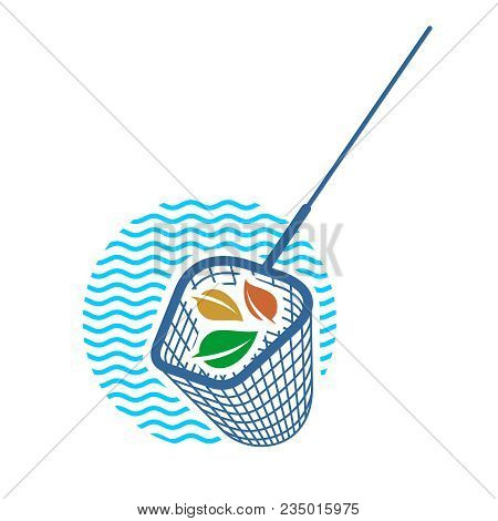 Pool Net Logo. Pool Cleaning Net With Leaves And Water Waves Behind.
