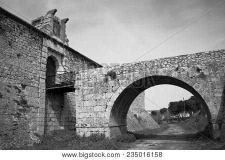 Drawbridge Of Castle Of The Counts Xv Century In Chinchon Near Of Madrid