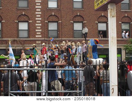 People On A Parade Float Being Watched By Spectators During The Chicago Gay Pride Parade, Chicago, I