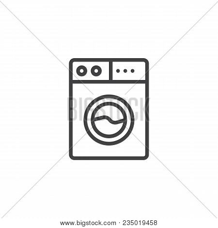 Washing Machine Outline Icon. Linear Style Sign For Mobile Concept And Web Design. Washer Simple Lin