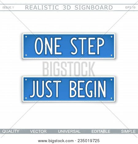 One Step. Just Begin. Stylized Car License Plate. Top View. Vector Design Elements