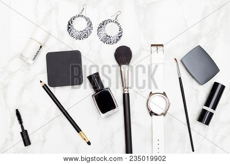 Accessories And Make Up Black And White Color On Marble Background. Flat Lay