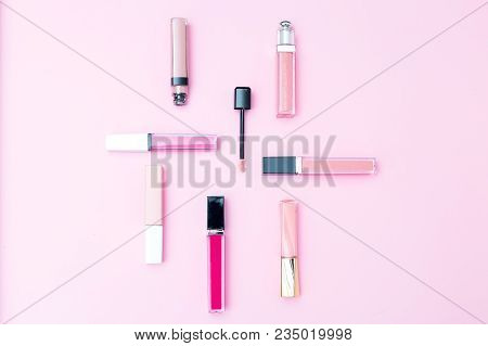 Cosmetics Set For Makeup On A Pink Background. Geometric Style