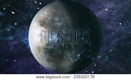 Futuristic Abstract Space Background. Night Sky With Stars And Nebula. Elements Of This Image Furnis