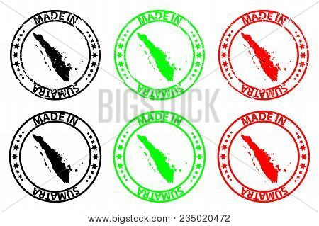 Made In Sumatra - Rubber Stamp - Vector, Sumatra Map Pattern - Black, Green And Red