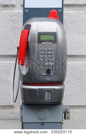 Public Payphone Outside On Street Which Can Be Used For Making Phone Calls With Credit Card For Paym