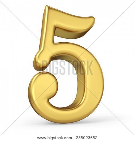 Gold Number 5 Isolated on White Background. Figure Five. 3D Illustration. Golden Alphabet Collection.