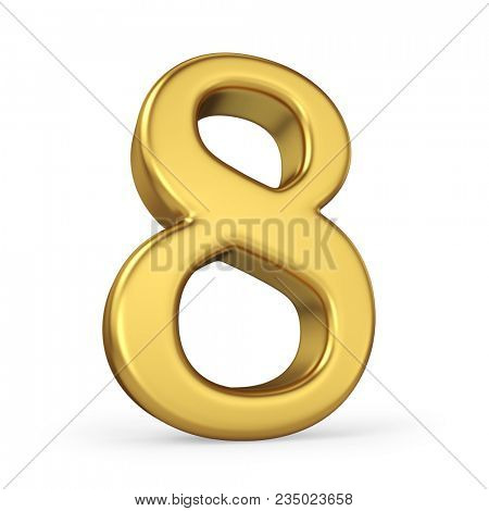 Gold Number 8 Isolated on White Background. Figure Eight. 3D Illustration. Golden Alphabet Collection.