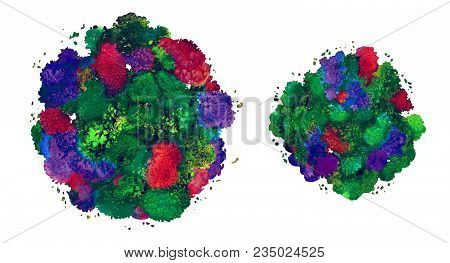 Abstract Watercolor Texture, Bionic Form, Dynamic Color Green. Dynamic Development. Growth. For The