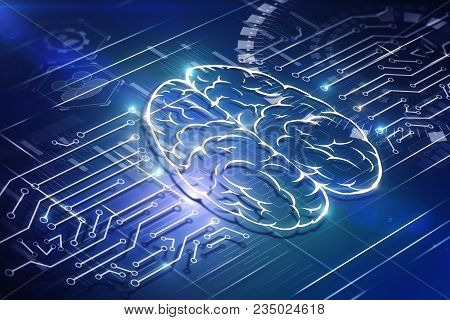 Creative Brain Circuit Background. Artificial Intelligence And Computing Concept. 3d Rendering