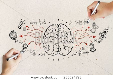 Hand Drawing Business Sketch On Concrete Wall Background. Brainstorm And Strategy Concept