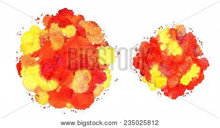 Abstract Watercolor Texture, Bionic Form, Dynamic Color Yellow And Red. Dynamic Development. Growth.