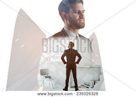 Businessman With Creative Sketch On Whiteboard Standing On Abstract City Office Background With. Pre