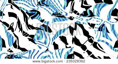 Turquoise Blue Seamless Prickly Scraps Background. Sharp Angular Shapes On Monochrome Texture. Prick