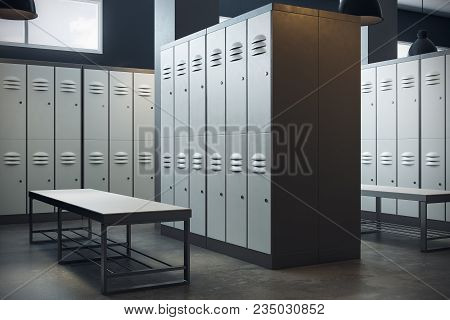 New Locker Room Gym School Interior. 3d Rendering
