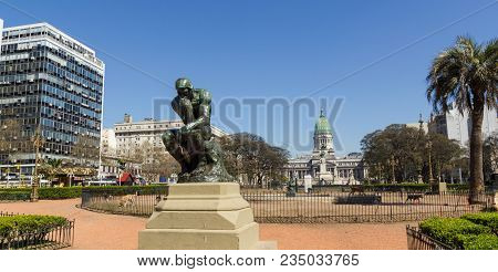 The Thinker By Rodin On Congress Square Monument In Buenos Aires, Argentina