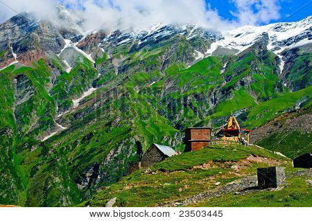 Indian Himalaya Landscape With Small Tibetian Buddhist Temple
