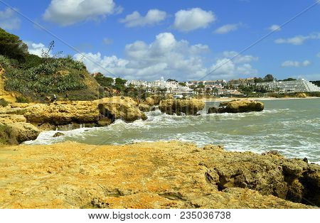 Albufeira, Algarve, Portugal - March 15, 2018 : Auramar Beach Coastal Erosion On The Algarve Coast O