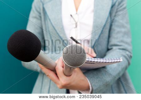 Journalist. Female Reporter. Press Interview. News Conference.