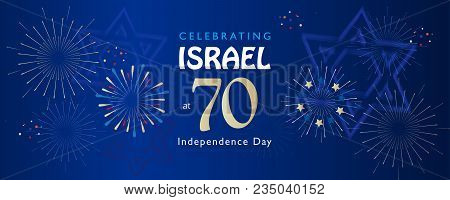 Israel 70 Anniversary, Independence Day, Calligraphy Text Festive Greeting Card Banner, Jewish Holid