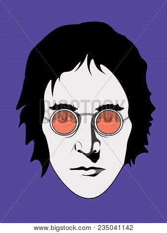 April 6 2018: The Illustration Of John Lennon In Red Glasses On A Purple Background, Eps10, Editoria