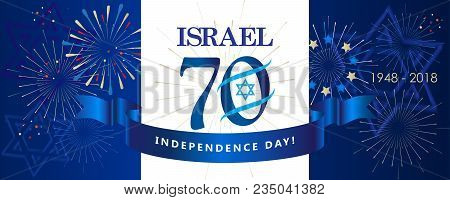 Israel 70 Anniversary, Independence Day, Calligraphy Text Festive Greeting Poster, Jewish Holiday, J
