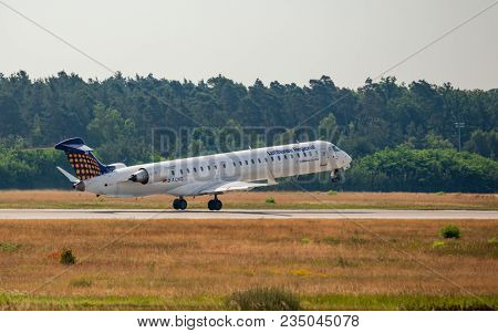 AIRPORT FRANKFURT,GERMANY: JUNE 23, 2017: EMBRAER ERJ190 Lufthansa Regional is a brand name for regional and feeder flights performed by two regional airlines owned by Lufthansa