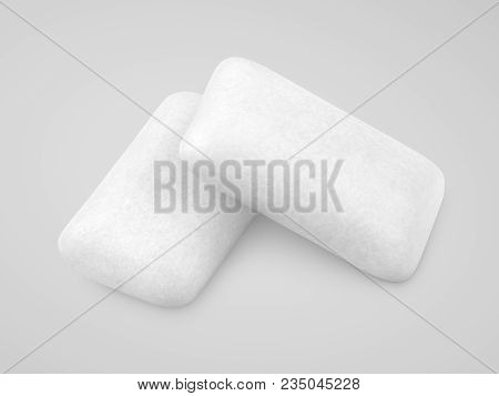 Two Pieces Of Chewing Gums On Gray Background With Clipping Path