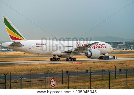 AIRPORT FRANKFURT,GERMANY: JUNE 23, 2017: Boeing 767 Ethiopian Airlines is Ethiopias flag carrier and is wholly owned by the country's government.