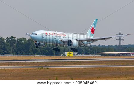AIRPORT FRANKFURT,GERMANY: JUNE 23, 2017: Boeing 777-200LR Air Canada is the flag carrier and largest airline of Canada by fleet size and passengers carried.