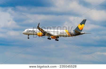 AIRPORT FRANKFURT,GERMANY: JUNE 23, 2017: Boeing 757 Thomas Cook Airlines (UK) Limited. Thomas Cook Airlines (UK) Limited, is a British airline based in Manchester, England.