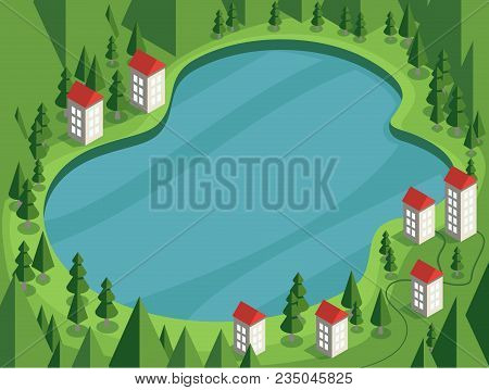 Vector Illustration In Cartoon Style Summer Landscape With A Lake, House, Road, Pines, Hills. Mounta