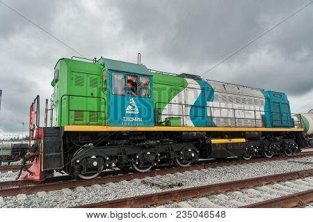 Tobolsk, Russia - July 15. 2016: Sibur Company. Denisovka Railway Station. Shunting Locomotive In Ac