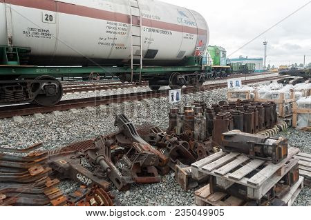 Tobolsk, Russia - July 15. 2016: Sibur Company. Denisovka Railway Station. The Tank And Spare Parts