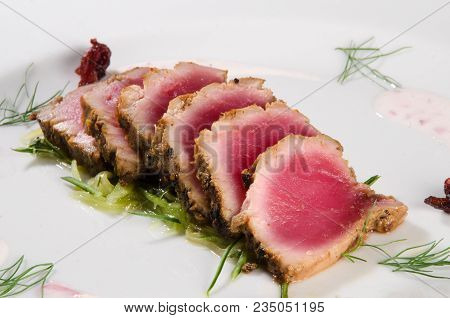 Tuna Gourmet Dish Of An Exclusive Restaurant