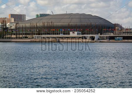 Lisbon Portugal. 04 April 2018. Exterior View Of The Altice Arena Previous Pavilhao Atlantico In Par