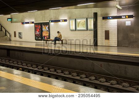 Lisbon Portugal. 04 April 2018. Rato Metro Station In Lisbon.lisbon, Portugal. Photography By Ricard