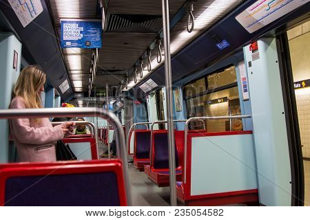 Lisbon Portugal. 04 April 2018. Subway Carriage In Lisbon.lisbon, Portugal. Photography By Ricardo R