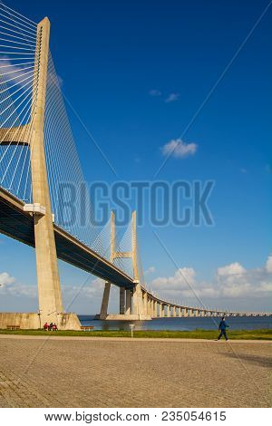 Lisbon Portugal. 04 April 2018. Vasco Da Gama Bridge In Lisbon.lisbon, Portugal. Photography By Rica