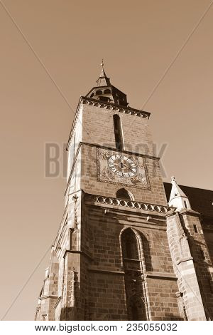Black Church, A Saxon Medieval Monument. Typical Urban Landscape Of The City Brasov, A Town Situated