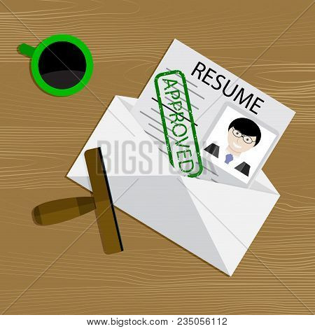 Approved Resume View. Vector Stamp Approval For Candidate Cv Illustration