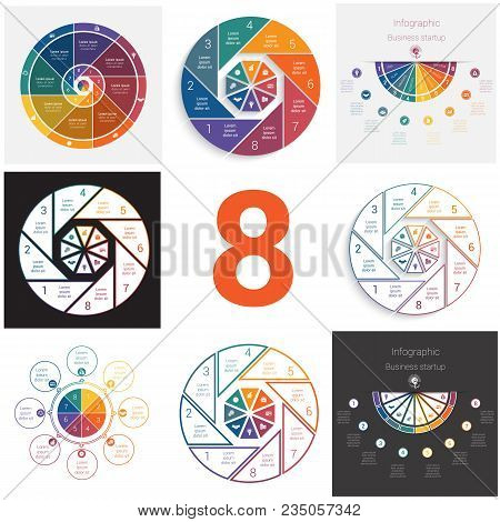 Set Universal Elements For Templates Infographics Cyclic Conceptual Processes 8 Positions Possible T