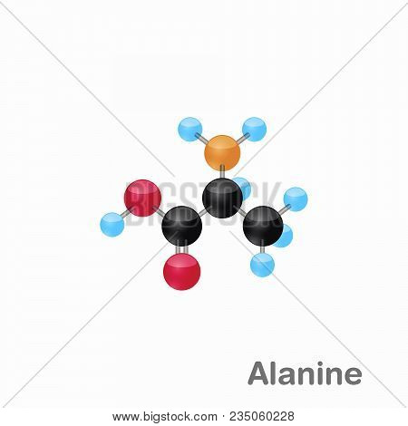 Molecule Of Alanine, Ala, An Amino Acid Used In The Biosynthesis Of Proteins, Vector Illustration