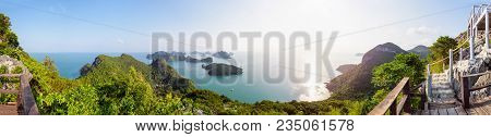 High Angle View Panorama Beautiful Nature Landscape Of Sunrise Over The Sea And Island From Ko Wua T