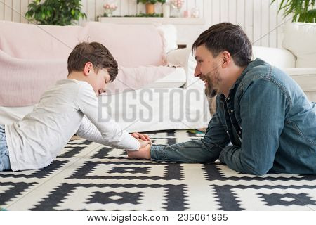 The Heart Of A Father Is The Masterpiece Of Nature! While Having Arm Wrestling With The Son On The F