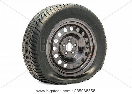 Punctured car wheel, flat tire. 3D rendering isolated on white background poster