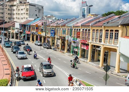 George Town, Malaysia - November 11 :  Heritage Houses In  George Town, Penang, Malaysia. George Tow