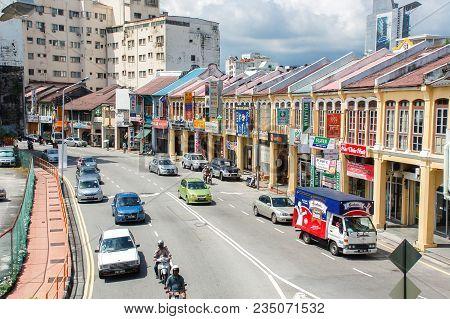 George Town, Malaysia - November 11 :  Heritage Houses In  George Town, Penang, Malaysia. George Tow