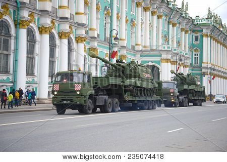 Saint Petersburg, Russia - May 07, 2017: Two Self-propelled Artillery Cannons Msta-s On Trailers. Pr